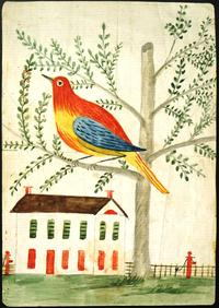 Drawing [Design] of a bird in a tree, and a house, dated March 16, 1857