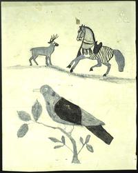 Drawing [Design] of a deer, horse and bird, undated
