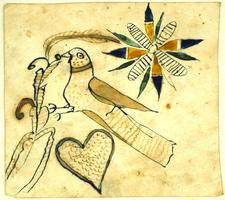 Drawing [Design] of a bird, heart, and flower, undated
